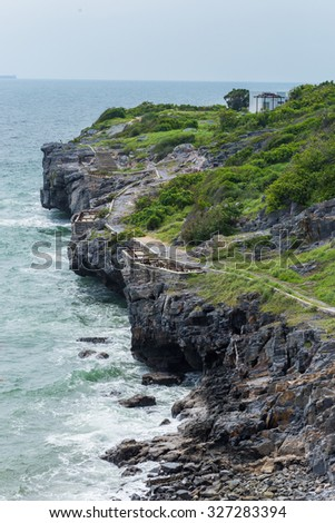 landscape the coastal path - stock photo