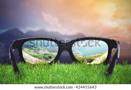 Landscape through the glasses