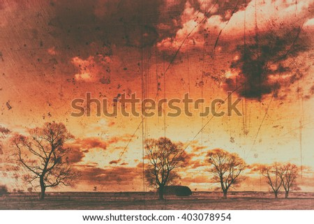 Landscape - trees on the meadow. Spring time. Narew river valley, Poland. Old photograph stylized with scratches and dust. Old, analog photography filter. Old camera style. - stock photo