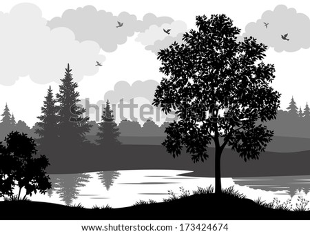 Landscape, trees, river and birds, black and grey silhouette contour on white background. - stock photo