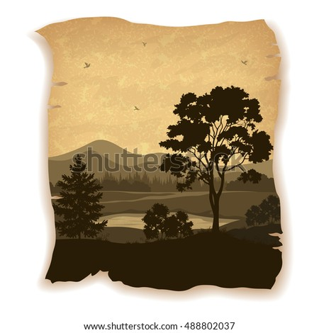 Landscape, Trees, River, Mountains and Birds Silhouettes on Vintage Background of an Old Sheet of Paper