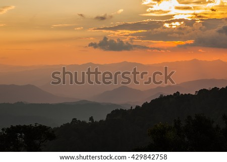 Landscape twilight sunset  on top of mountains Thailand