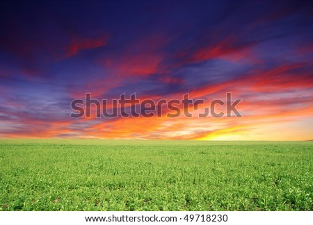 Landscape under morning sky with clouds
