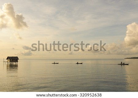 Landscape view during morning light after sunrise in Mabul Maiga Island, Malaysia.