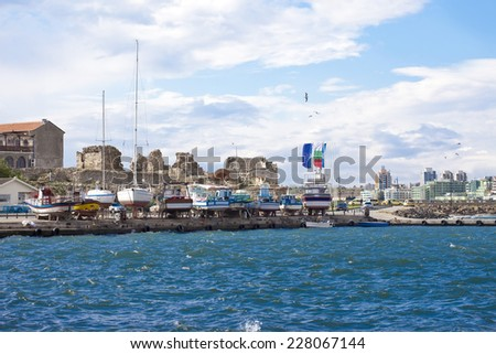 landscape view from Bulgarian old historical town Nessebar. It's a town on little island in Black sea. - stock photo