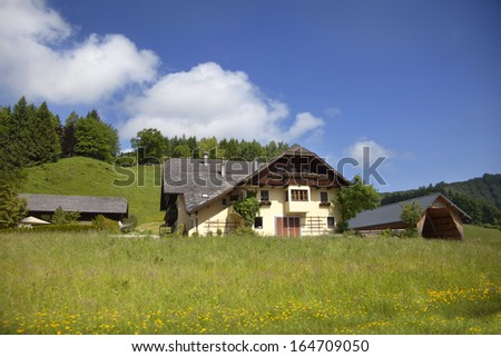 Landscape view from Tirol, Austria, Farmland during the summer.