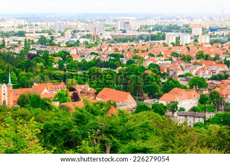 landscape. view from tower of sea and district gdansk danzig polish city suburb buildings houses exterior. - stock photo