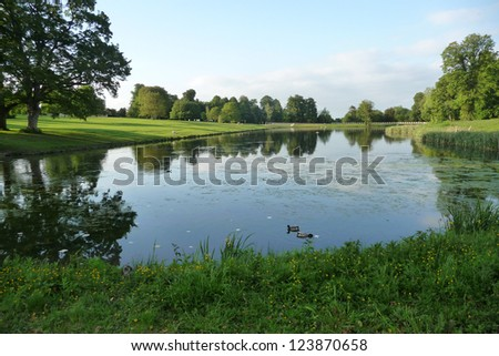 landscape view in Lydiard Park In Swindon. - stock photo