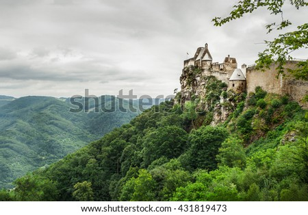 Landscape view of Aggstein Castle on Danube, Austria