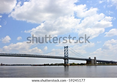 Landscape view of Benjamin Franklin Bridge - stock photo
