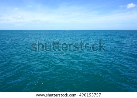 Landscape view of blue sky ocean