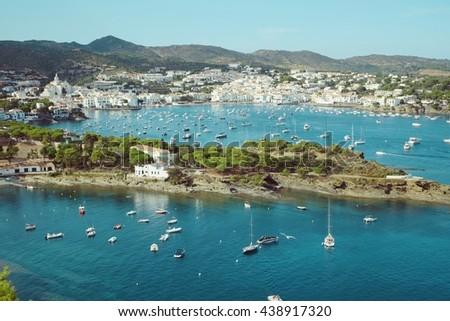 Landscape view of Cadaques on Mediterranean seaside, Costa Brava, Catalonia, Spain - stock photo