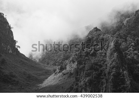 Landscape view of Chiang dao mountain area, Chiang mai, Thailand. Black and White color.