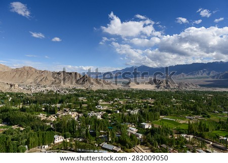 Landscape view of Leh city,Ladakh,Jammu,Kashmir,India.  - stock photo