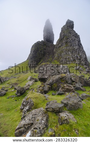 Landscape view of Old Man of Storr rock formation, Scotland, United Kingdom - stock photo