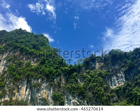 Landscape view of Ratchaprapha Dam at Khao Sok National Park, Surat Thani, THAILAND