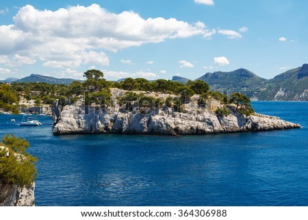 Landscape view on calanques of Port Pin in Cassis near Marseille, Provence, France. - stock photo