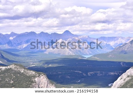 Landscape view on the highest Sulfur mountain, Rocky Mountains and Bow river valley in Banff National park. Alberta.Canada - stock photo