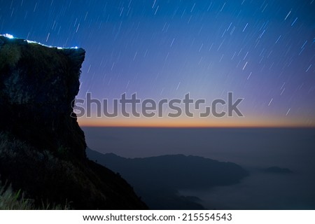 Landscape view on top of mountain with stars