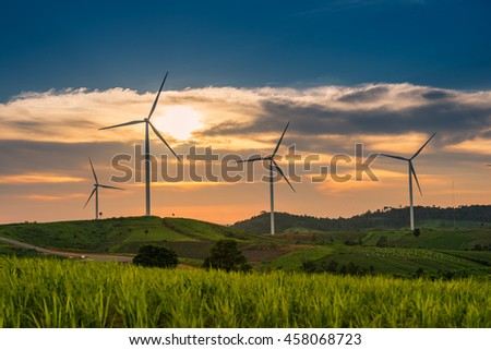 Landscape view Wind turbines at sunset in Ban Thung Samoe, Khao Kho, Phetchabun, Thailand.