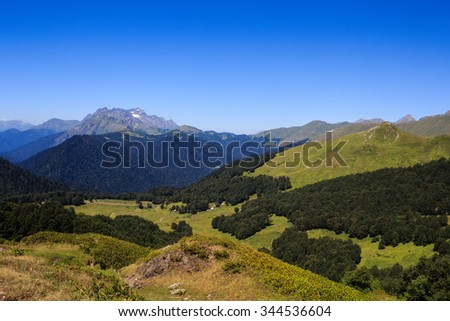 landscape view with rocky mountains covered with snow greenforest and green alpine meadows in caucasus mountains Abkhazia Georgia - stock photo
