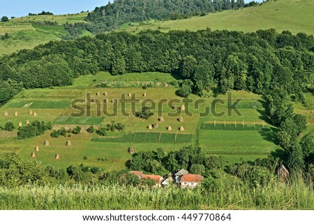 Landscape view with village and haycocks on Mountain under blue sky at Carpathians in Ukraine
