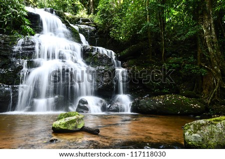 Landscape water fall in thailand - stock photo
