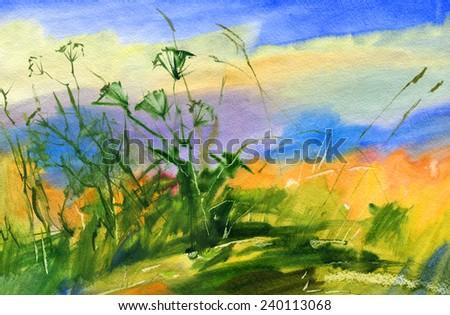 Landscape. Watercolor. - stock photo