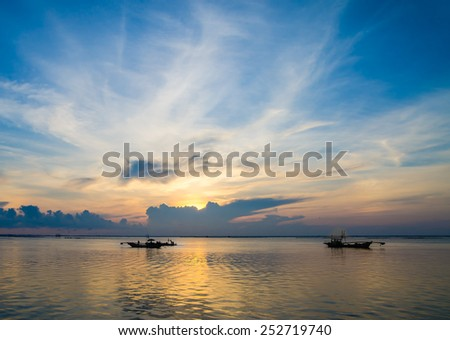 Landscape when the sunshine with cloudscape and sea  in the morning. - stock photo