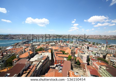 Landscape with a lot of homes, the river, bridges and the ships - stock photo