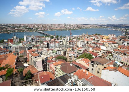 Landscape with a lot of homes, the river, bridges and the ships against blue sky - stock photo