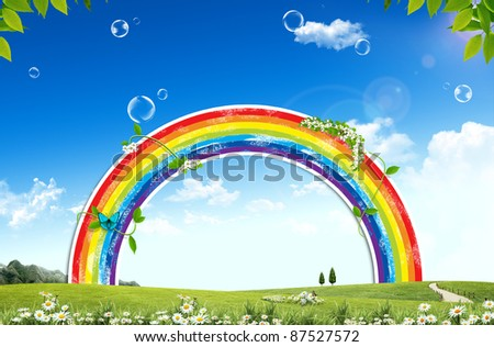 Landscape with a rainbow - stock photo