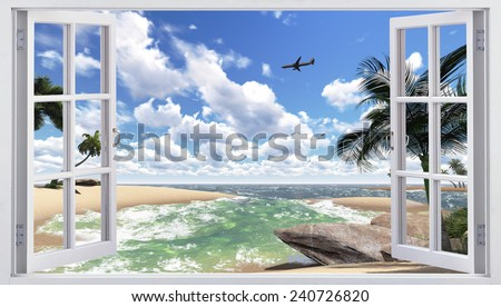 Landscape with a sea view - stock photo