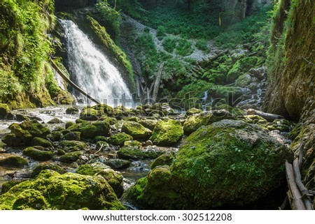 Landscape with a waterfall in a gorge and lush vegetation - stock photo