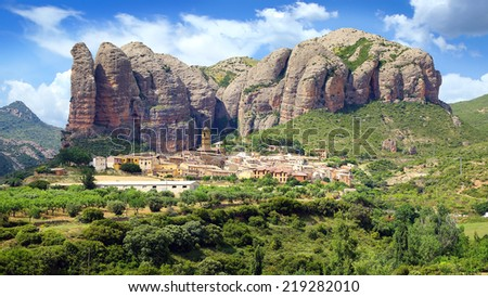 Landscape with Aguero Mountains, Huesca, Aragon, Spain - stock photo