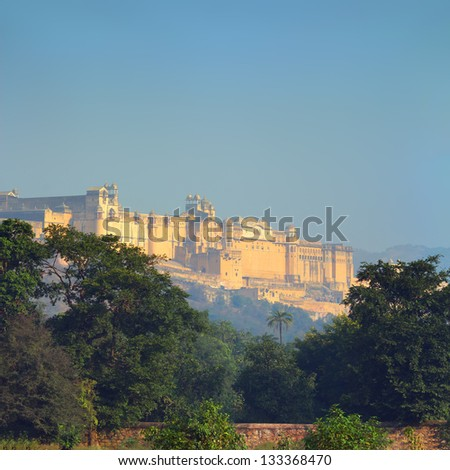landscape with Amber fort in Jaipur India