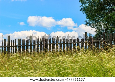 Landscape with an old fence, blue sky with clouds and wild herbs.