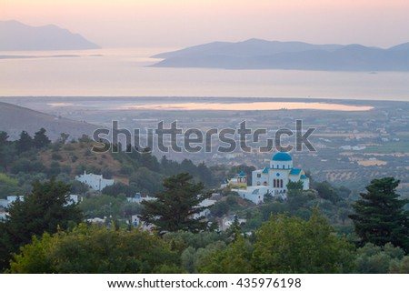 Landscape with an orthodox church and a mediterranean sea, Kos, Greece.