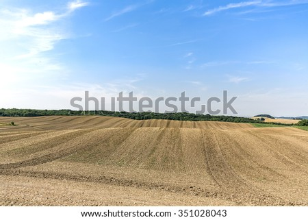 landscape with arable land and forest in summer