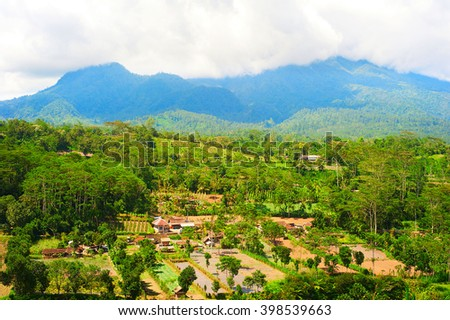 Landscape with Balinese village and mountains. Bali island, Indonesia