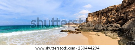 Landscape with beach, the sea and the clouds in the blue sky, Boavista - Cape Verde
