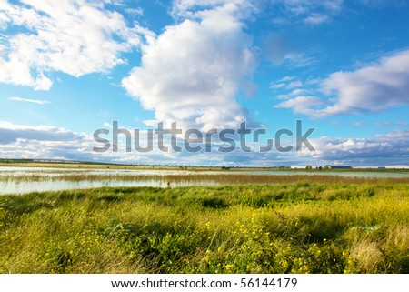 Landscape with beautiful cloudscape - stock photo