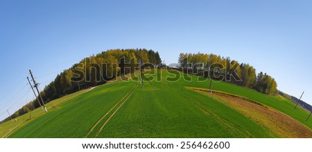 Landscape with blue sky, green field and forest on the horizon. Fish-eye effect. - stock photo