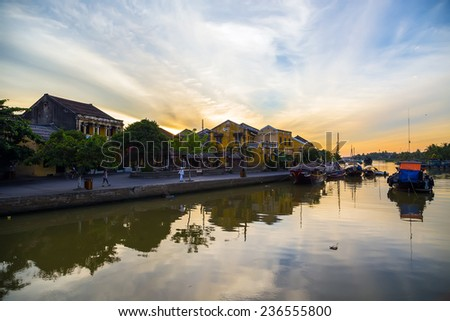 Landscape with boats in Hoi An, Vietnam  - stock photo