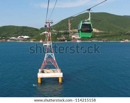 Landscape with cable car in the sea