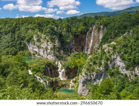 Landscape with cascading falls. Big waterfall. Korana. Plitvice Lakes, Croatia. - stock photo