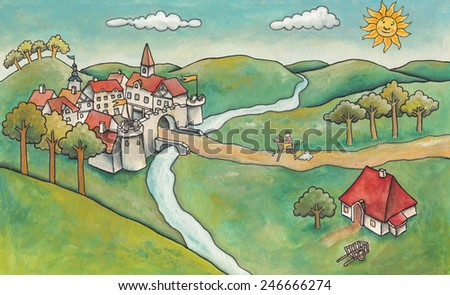 Landscape with Castle. A rider arrives riding a medieval castle. Illustration made with acrylics.