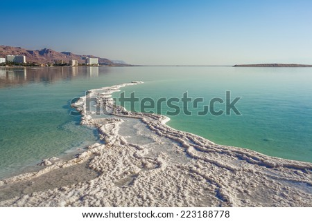 landscape with coastline and hotels at the Dead Sea - stock photo