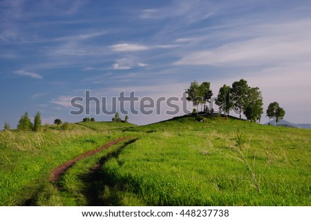 Landscape with country road to the valley in the spring foothills at fields with green grass of Altai mountains under clear blue sky with white clouds, Siberia, Russia - stock photo