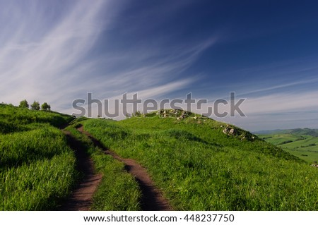 Landscape with country road to the valley in the spring foothills at fields with green grass of Altai mountains at sunset under clear blue sky with white clouds, Siberia, Russia - stock photo
